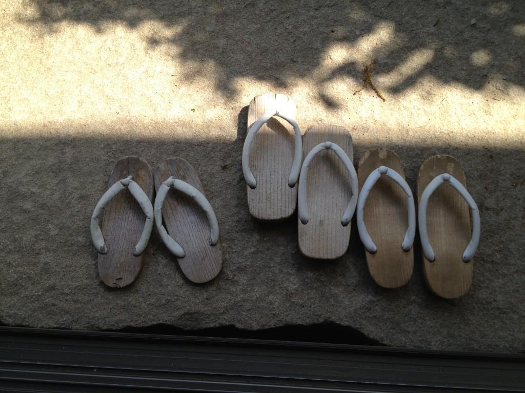 Nuns shoes outside tea pavilion Nisodo Zen training temple, Nagoya, Japan
