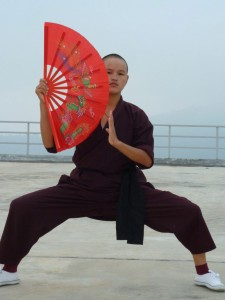 Kung-Fu-nun-at-morning-practice-at-Gawa-Khilwa-nunnery-school-in-Kathmandu-1024x768